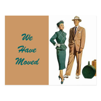 Postcard Vintage Couple Moved New Address PC