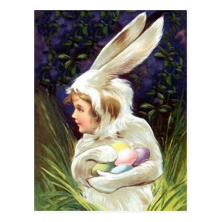 Postcard Vintage Happy Easter! Bunny Suit Hide Egg
