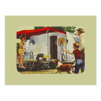 Postcard Vintage Retro Travel Trailer Camping Trip
