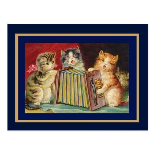 Postcard Vintage Singing Cats Postcard