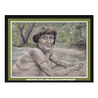 Postcard w orig. art, elder from Amazon Rainforest