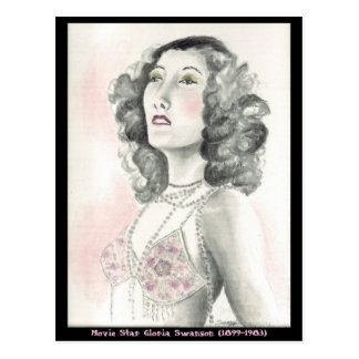 Postcard w/ original art of Gloria Swanson