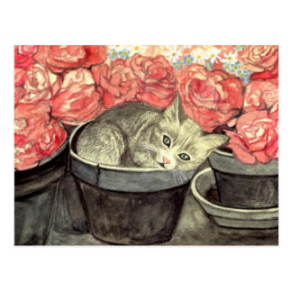 "Postcard water color ""kitten in the flower pot """