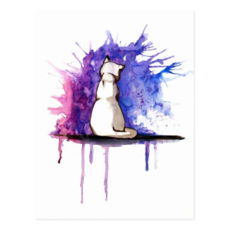 Postcard - watercolor cat - blue pink for woman