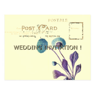POSTCARD-WEDDING-GOLD-BLUE-FLORAL-TEMPLATE POSTCARD