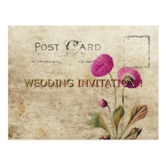 POSTCARD-WEDDING-VINTAGE-MAUVE-FLORAL-TEMPLATE POSTCARD