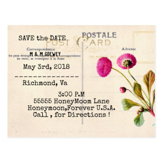 POSTCARD-WEDDING-VINTAGE-PINK-FLORAL-TEMPLATE POSTCARD