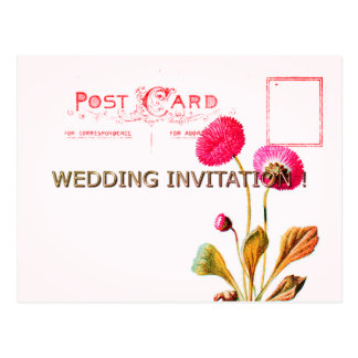 POSTCARD-WEDDING-VINTAGE-RED-FLORAL-TEMPLATE POSTCARD