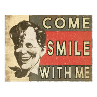 Postcard wit cool happy nerd face sending a smile