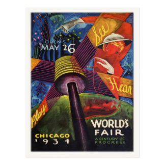 Postcard with 1934 Chicago World's Fair Print
