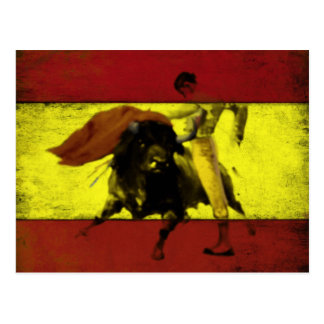 Postcard with Bullfight on Dirty Spanish Flag