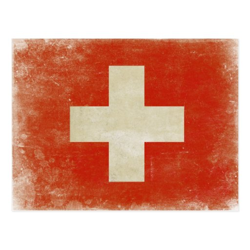 Postcard with Distressed Switzerland Flag