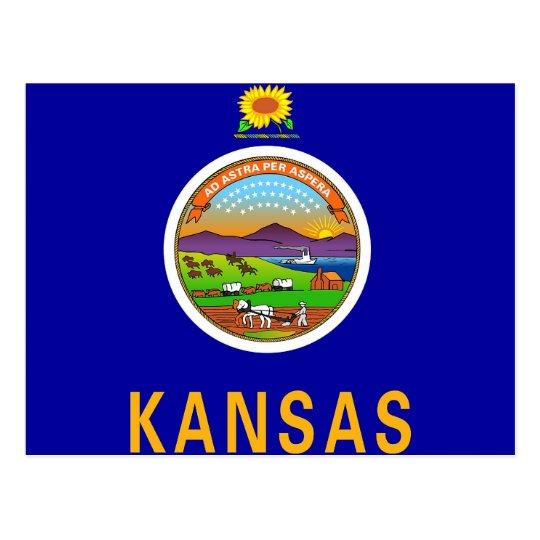 Postcard with Flag of Kansas State - USA