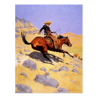 Postcard With Frederic Remington Painting