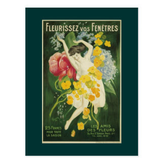 Postcard with French vintage poster for flowers