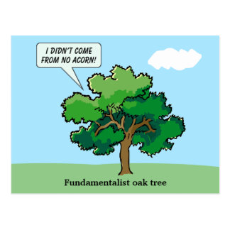 Postcard with Fundamentalist Oak Tree Cartoon