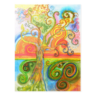 Postcard with Psychedelic Colourful Tree Design