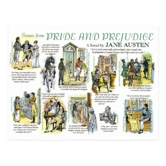 Postcard with scenes from Pride and Prejudice