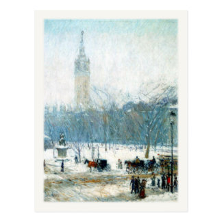 Postcard With Snowy Madison Square
