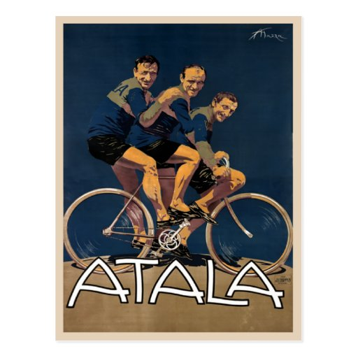 Postcard With Vintage Bicycle Poster Print