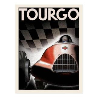 Postcard With Vintage Motor Racing Poster Print