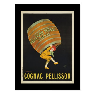 Postcard with vintage poster of Cognac Pellisson