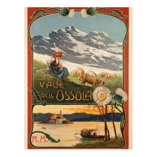 Postcard with vintage poster Valle dell'Ossola