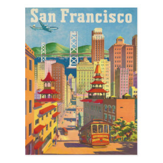 Postcard with Vintage San Francisco Poster