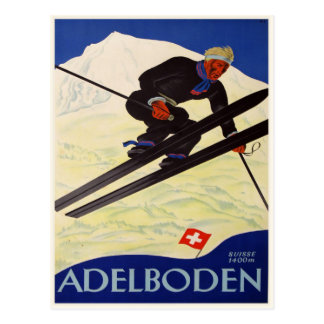 Postcard with Vintage Ski Resort Print