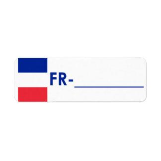 "Postcrossing ID Label France ""Flag Style"" Return Address Label"