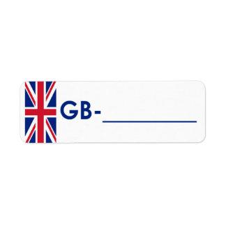 "Postcrossing ID Label United Kingdom ""Flag Style"""