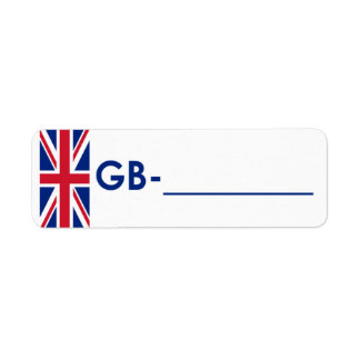 "Postcrossing ID Label United Kingdom ""Flag Style"" Return Address Label"