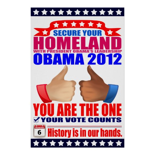 Poster: 2012 Obama -  Thumbs Up - Secure Homeland
