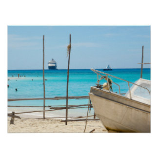"Poster (24""x18"") Vanuatu cruise ship and boat"