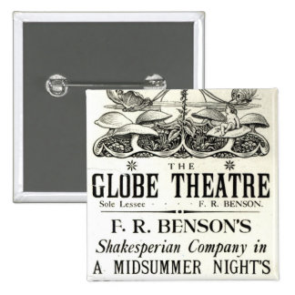 Poster advertising 'A Midsummer Night's Dream' 2 Inch Square Button