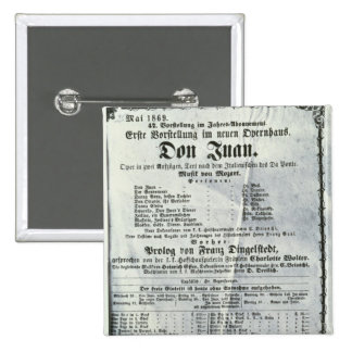 Poster advertising a performance of 'Don Juan' 2 Inch Square Button
