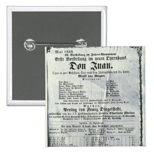 Poster advertising a performance of 'Don Juan' Pinback Button