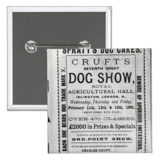 Poster advertising Cruft's Dog Show 2 Inch Square Button