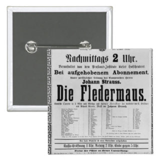 Poster advertising Die Fledermaus by Johann 2 Inch Square Button