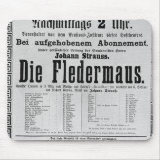 Poster advertising Die Fledermaus by Johann Mousepad