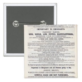 Poster advertising emigrant services 2 inch square button
