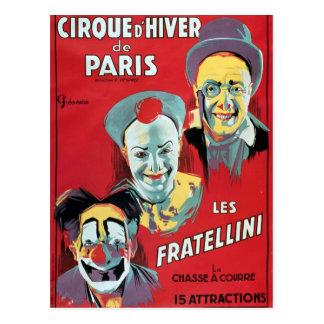 Poster advertising the 'Cirque d'Hiver de Paris' Postcard