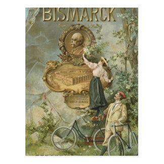 Poster advertising the Fahrrad Werke Bismarck Postcard