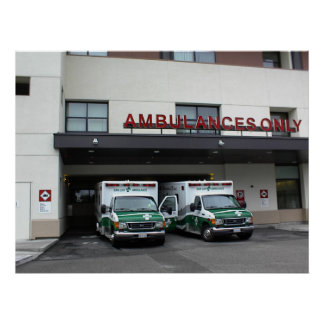 Poster:-Ambulances at Twin Cities Hospital Poster