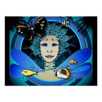 Poster - Art Déco Fairy with Butterfly and Fishes