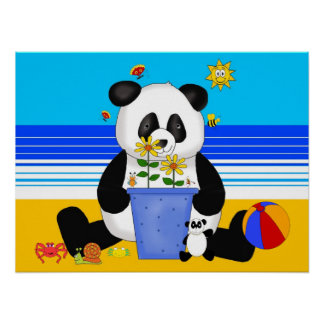 Poster Art Kid's Panda At The Beach