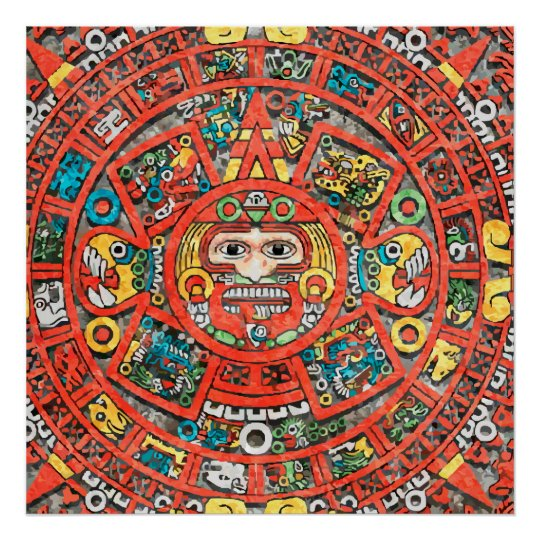 Calendrier Maya Dessin.Poster Art Maya De Calendrier