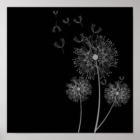 Poster Art Noir Et Blanc De Fleur De Pissenlit Zazzle Ca