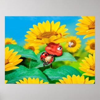 Poster art sleepy Ladybug and sunflowers