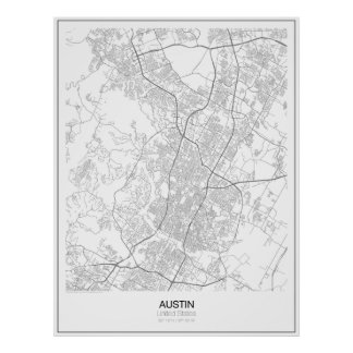 Poster Austin, affiche minimaliste de carte des